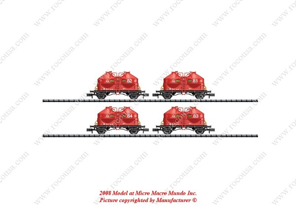MiniTrix 15222 Set with 4 Cement Silo Container Cars Ucs 908 WLE